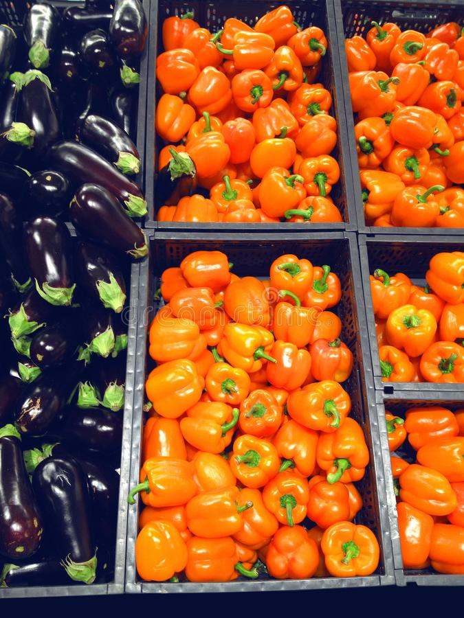 Peper en aubergine royalty-vrije stock foto