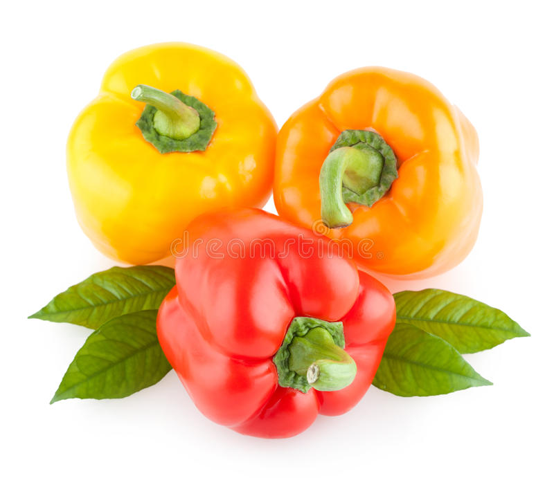Peper, Groen Rood, Geel, Oranje, stock afbeelding