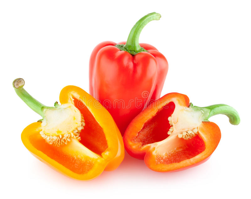 Peper, Groen Rood, Geel, Oranje, stock foto's
