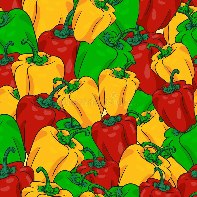 Peper naadloos patroon in rode, gele, en groene kleurenvector royalty-vrije illustratie
