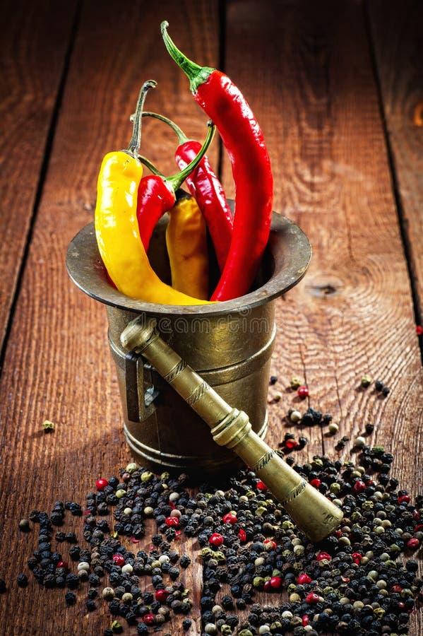 Peper, Spaanse peper en mortier royalty-vrije stock afbeelding