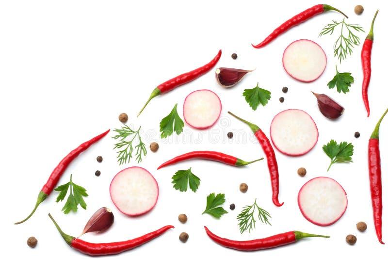 Peper van de mengelings de roodgloeiende Spaanse peper met peterselie en gesneden die komkommer en knoflook op witte hoogste meni royalty-vrije illustratie