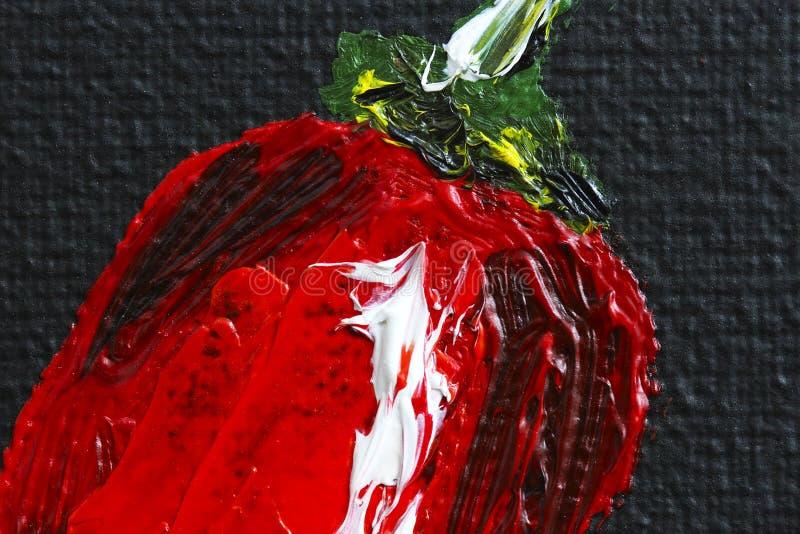 Peper van de olieverfschilderij de roodgloeiende Spaanse peper op canvas Stuk rode Spaanse peperpeper Zwarte en rood Olieverven C stock illustratie