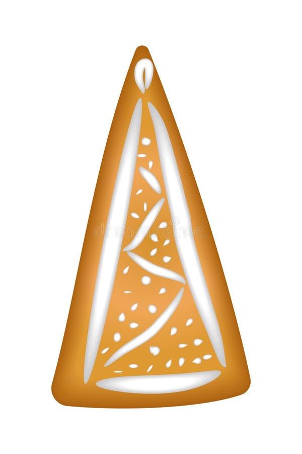 Peperkoekboom met glans Geïsoleerde Kerstmis handmade trek vector illustratie