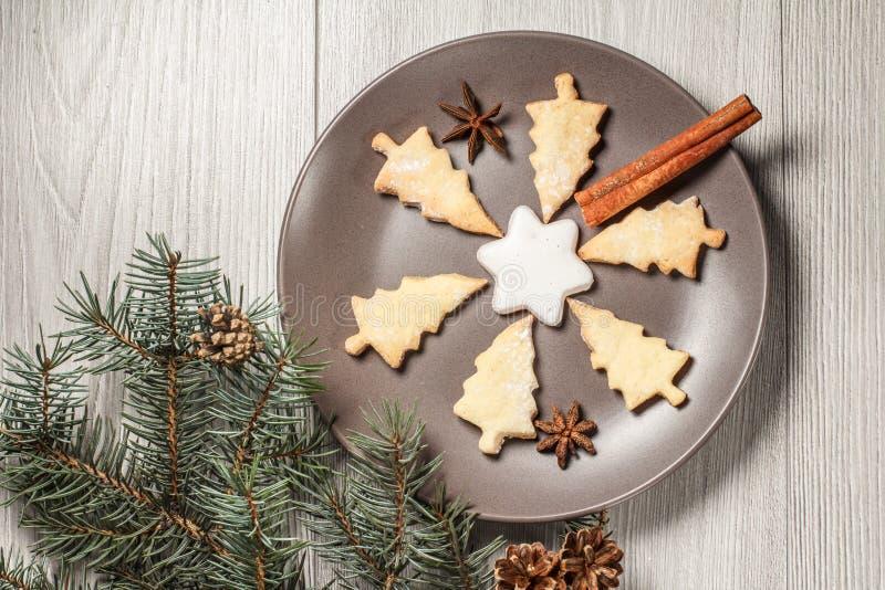 Peperkoekkoekjes in Kerstboom en stervorm op plaat royalty-vrije stock foto