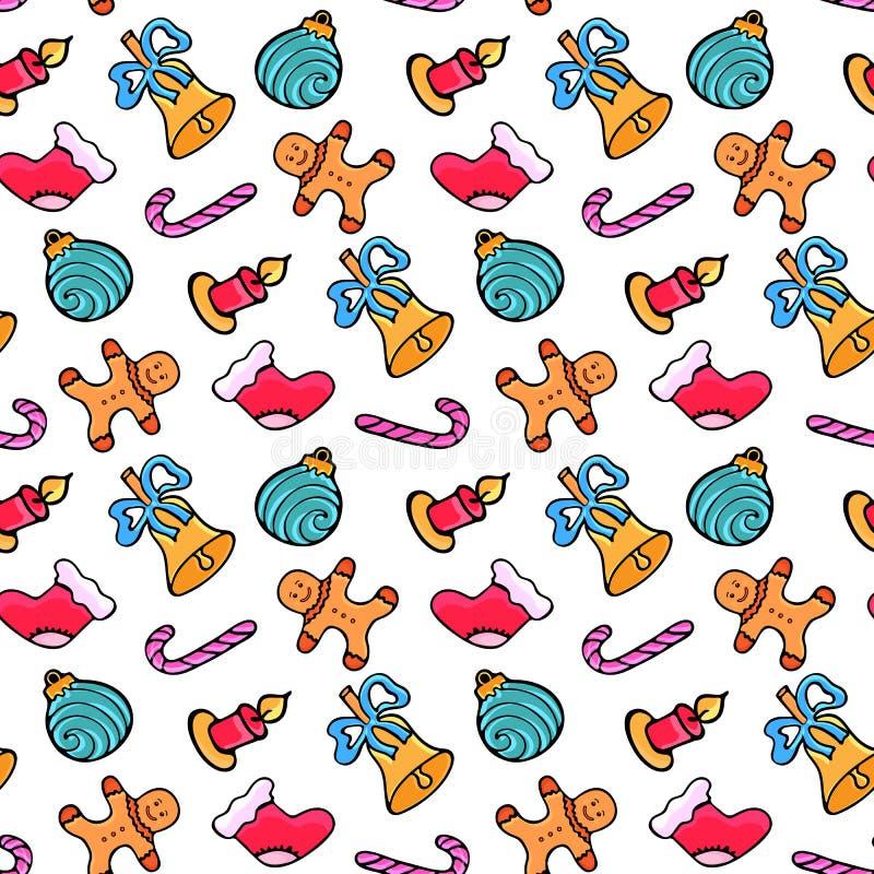 Peperkoekmens, suikergoed, de sok van de Kerstman, klok Het naadloze patroon van Kerstmis ontwerp voor het Nieuwjaar 2019 in krab stock illustratie