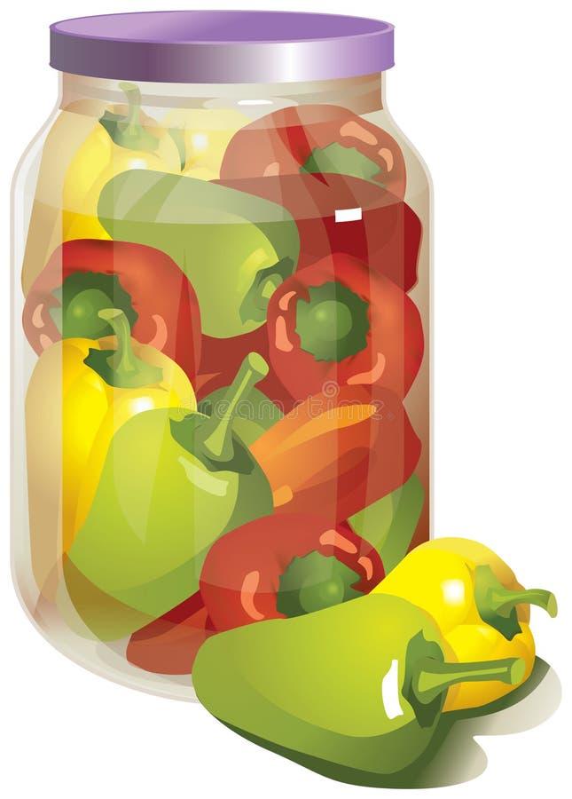 Peperkomkommers in een kruik stock illustratie
