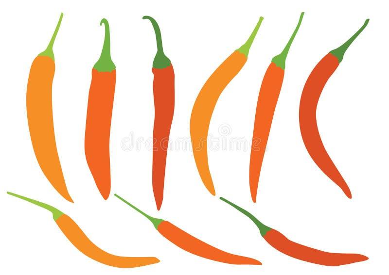 Peperoncini rossi giallo arancione su fondo bianco illustrazione vettoriale