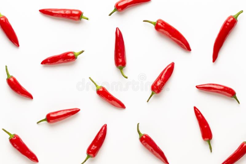 Peperoncino di cayenna dei peperoncini rossi o del peperoncino rosso isolato sul ritaglio bianco del fondo immagini stock libere da diritti