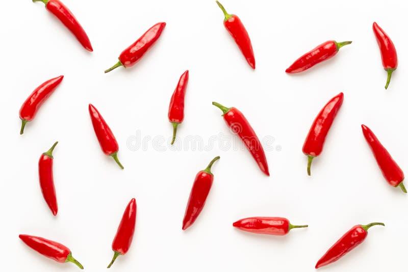 Peperoncino di cayenna dei peperoncini rossi o del peperoncino rosso isolato sul ritaglio bianco del fondo immagini stock