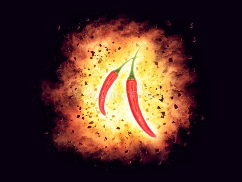 Peperoncino rosso caldo, roventi esplosivo e sul peperoncino di rosso fuoco immagine stock libera da diritti