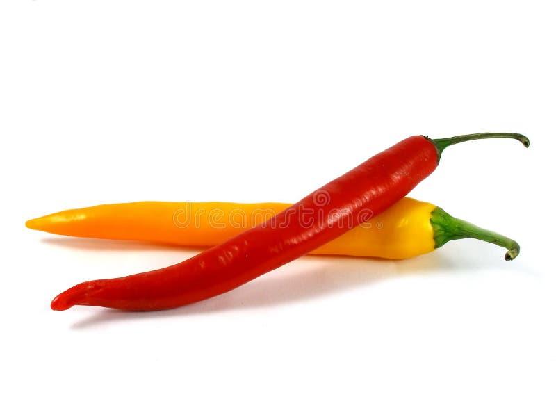 Peperoncino rosso rosso e giallo del pepe fotografia stock libera da diritti