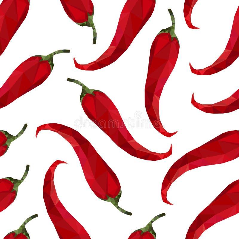 Peperoncino rosso senza cuciture del pepe del modello nello stile di origami illustrazione di stock