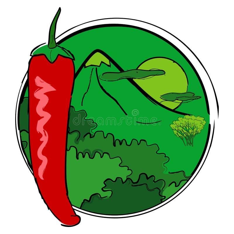 Peperoncino rosso sui precedenti di un paesaggio della montagna e di una t fotografia stock