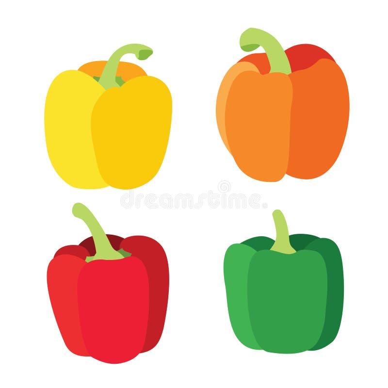 Peperone dolce verde rosso giallo arancione della MISCELA 800Colour isolato sull'illustrazione bianca vectorx566 del fondo illustrazione di stock