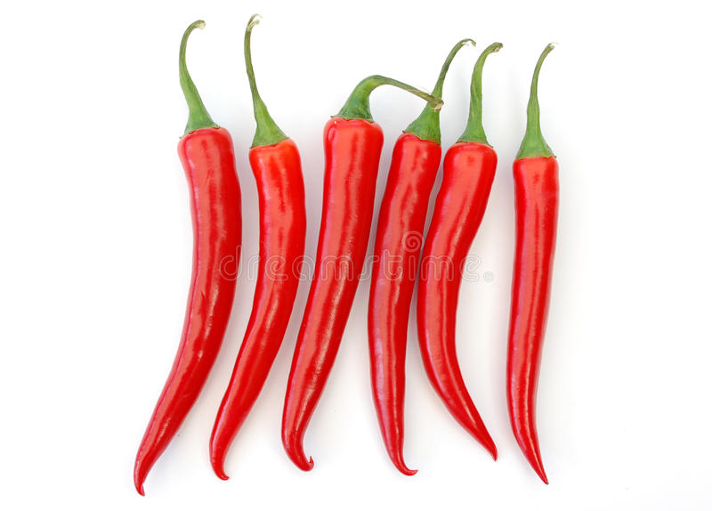 Peperoni di peperoncini rossi rossi fotografia stock libera da diritti