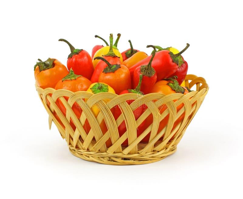 Peperoni dolci del cestino mini fotografie stock