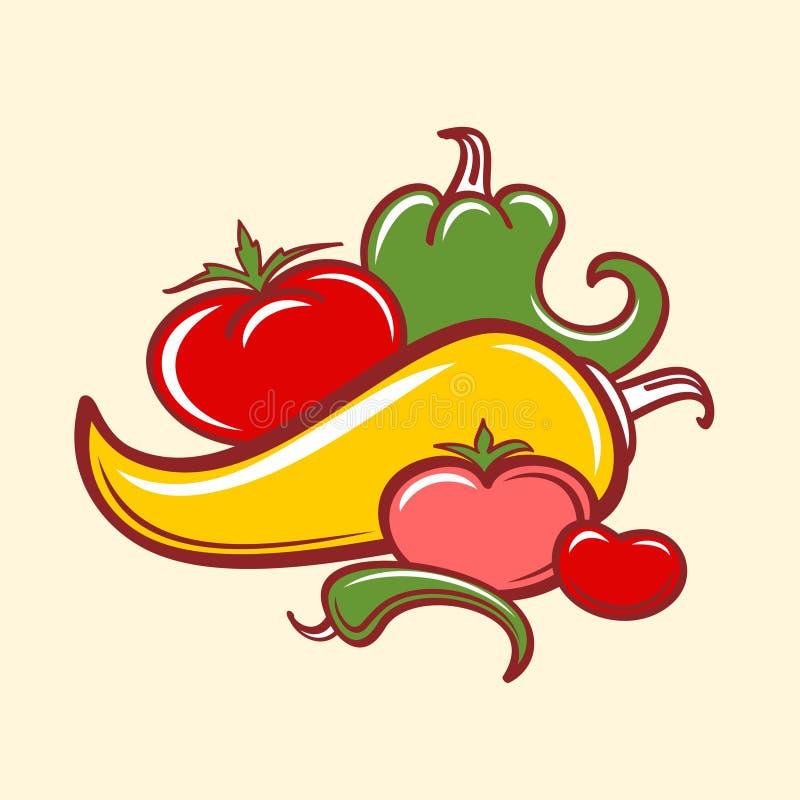 Peperoni e pomodori illustrazione di stock