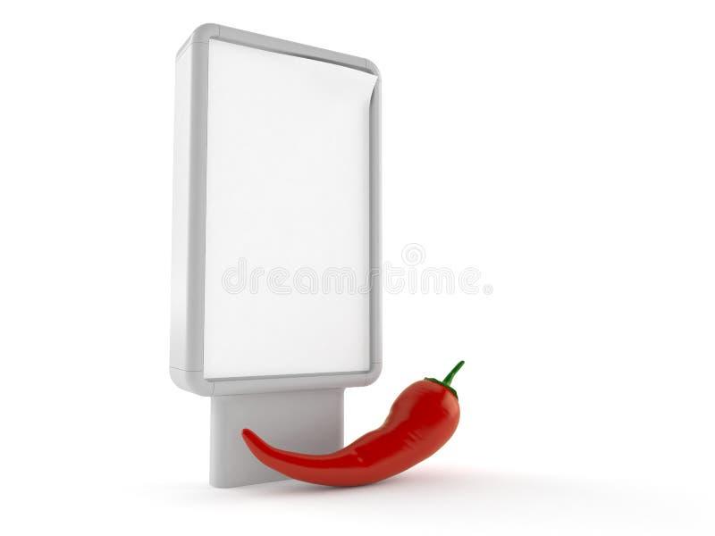 Peperoni mit leerer Anschlagtafel lizenzfreie abbildung