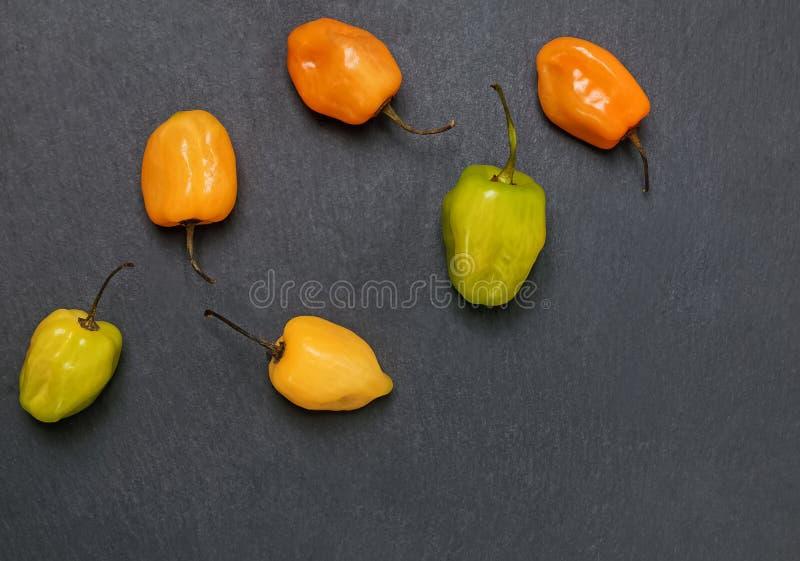 Peperoni piccanti freschi del habanero dei colori differenti sui precedenti di pietra neri fotografie stock libere da diritti