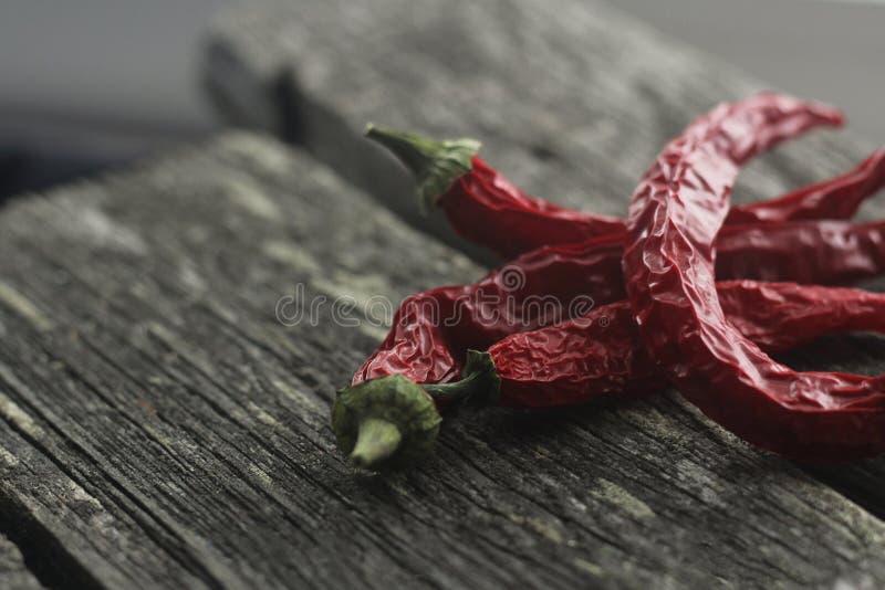 Peperoni piccanti su un fondo di legno scuro fotografia stock