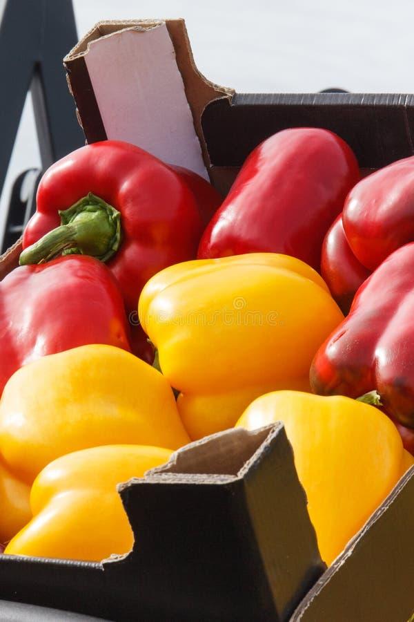 Peperoni rossi e gialli freschi, maturi, in box, in bancarella a bazaar fotografia stock