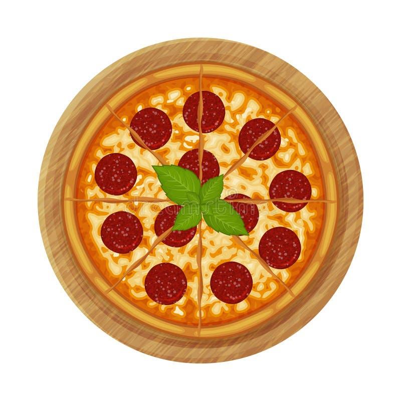 Peperonipizza med salami p? tr?plattan stock illustrationer
