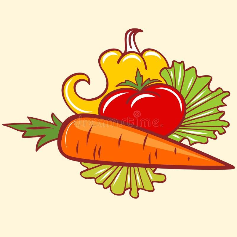 Pepertomaat en wortel vector illustratie