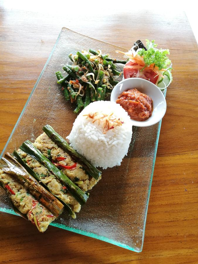 Pepes ikan, Balinese grilled fish stock image