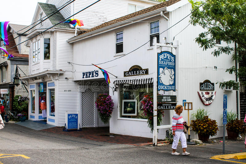 Pepes Seafood and Bowersock Gallery, Provincetown,. Pepes Seafood Restaurant and Bowersock Gallery on Commercial Street, Provincetown, MA stock images