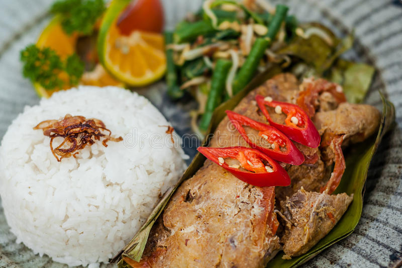 Pepes Traditional Indonesian food. Indonesian traditional food, Delicious fish with special cooking style called pepes in Indonesia stock image