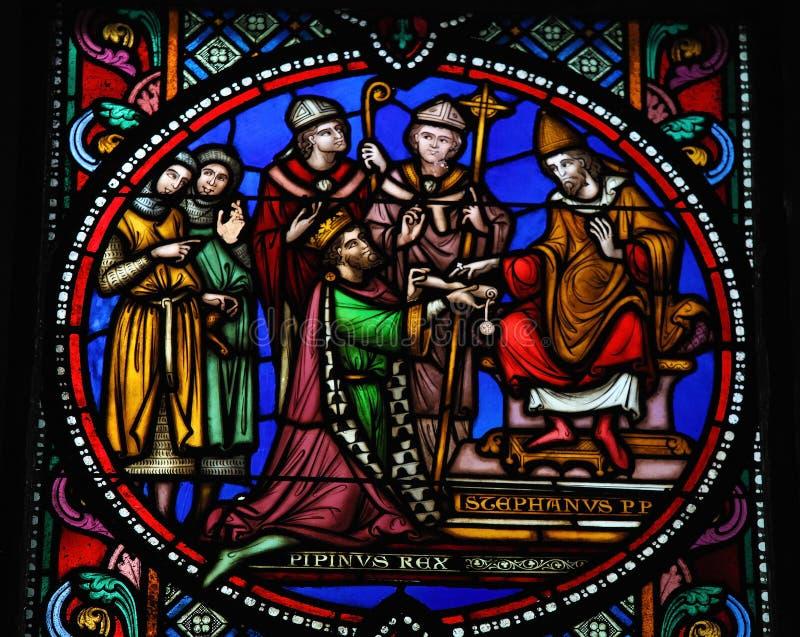 Pepin le plus jeune et le pape Stephen II photo libre de droits