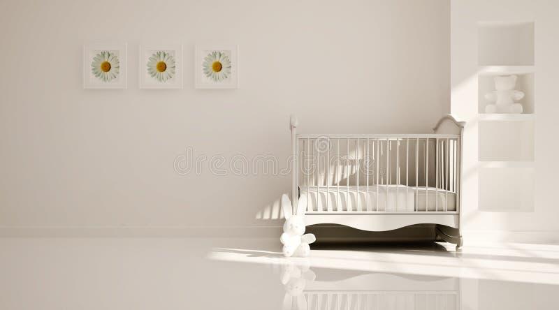 Pepiniera minimalny nowożytny wnętrze. B&W obrazy royalty free