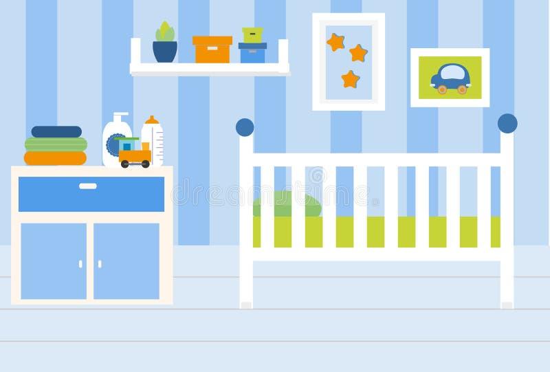 Pepiniera pokoju wnętrze Mieszkanie w błękitów kolorów i białego meble Chłopiec sypialni projekt z łóżkiem, półki, bawi się Wekto ilustracja wektor