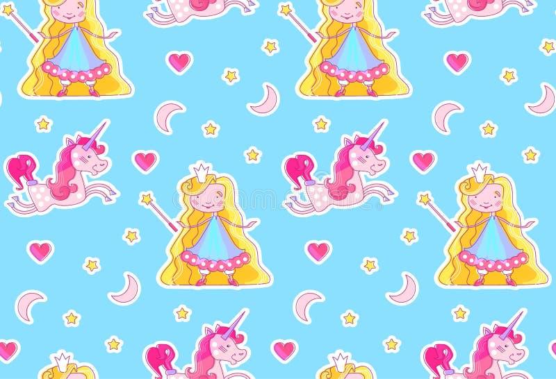Pepiniery dziecka Bezszwowy wzór z Małym Czarodziejskim Princess, Magiczną jednorożec, Magiczną różdżką, Różowym sercem, Półksięż ilustracja wektor