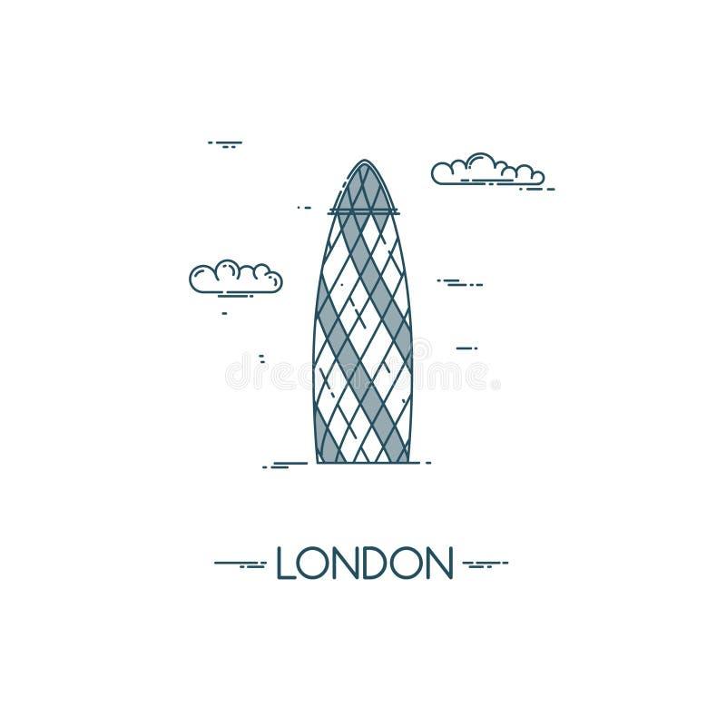 Pepinillo del rascacielos en la ciudad de Londres stock de ilustración
