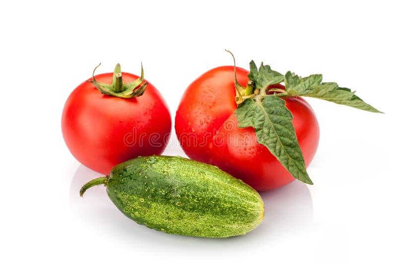 Pepino con el tomate imagen de archivo libre de regalías