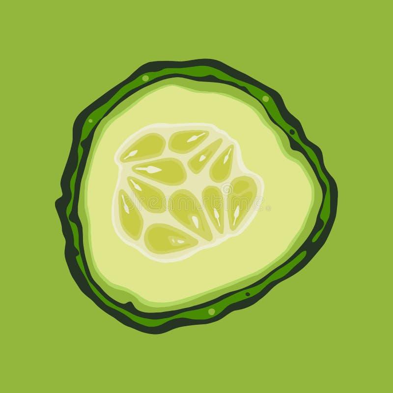 Pepino Corte la verdura con las semillas ilustración del vector