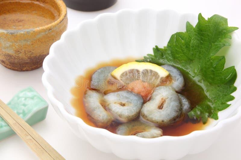 Pepino de mar com vinagre, alimento japonês com causa do vinho de arroz foto de stock royalty free