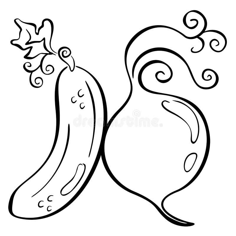 Pepino y remolachas stock de ilustración