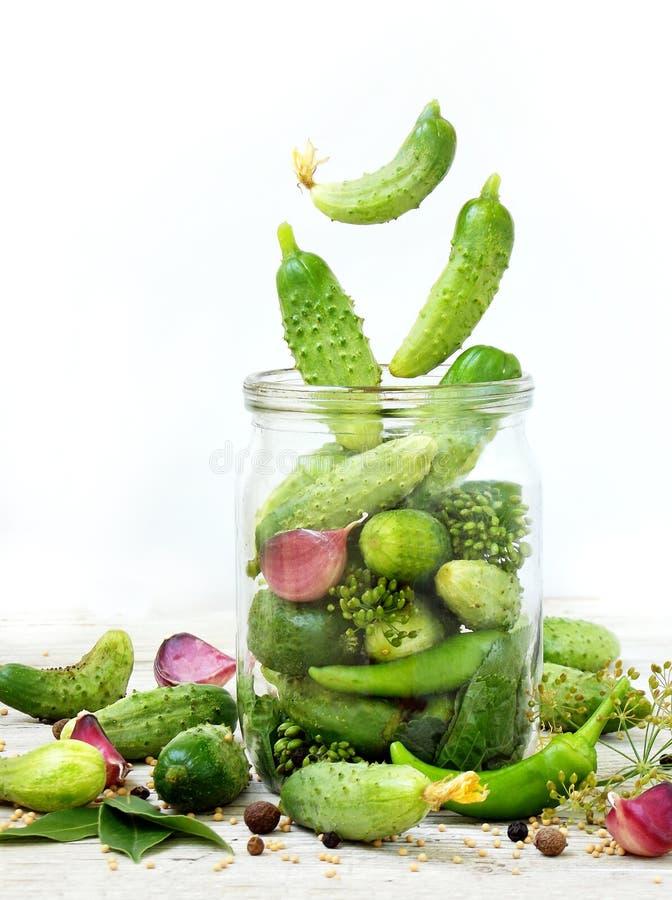 Pepinos com ervas e especiarias para conservar no frasco de vidro com ingredientes do voo imagens de stock royalty free