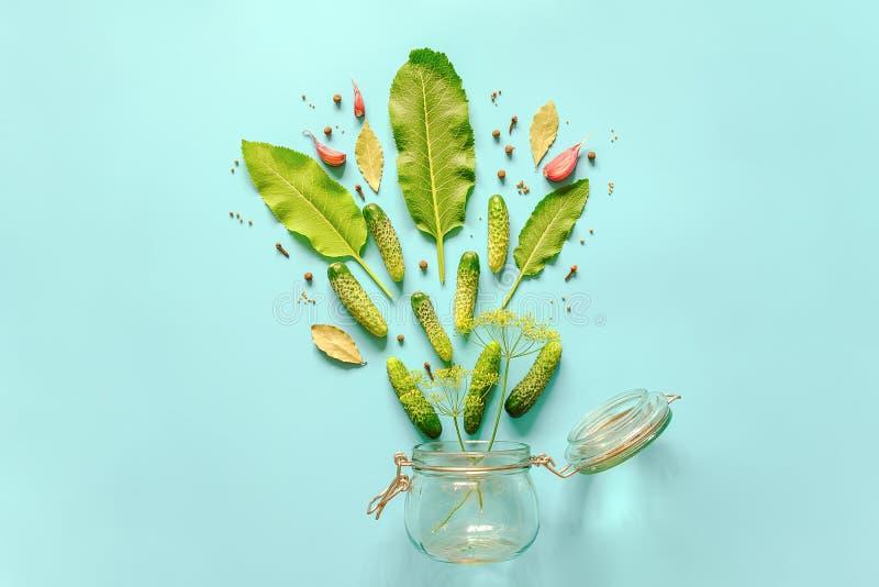 Pepinos conservados Ingredientes para pepino postos de conserva e o frasco de vidro no fundo azul Preservação culinária da receit imagem de stock