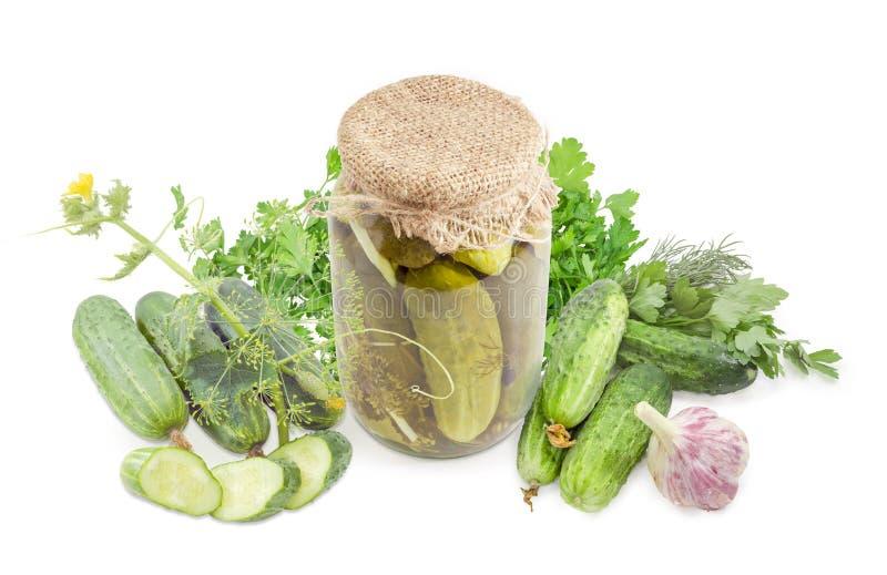 Pepinos enlatados no frasco de vidro entre pepinos e ervas frescos fotografia de stock