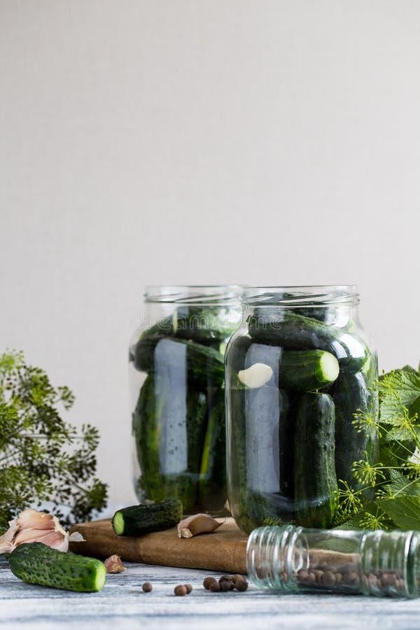Pepinos, especiarias e ervas em um frasco da preservação Coloca??o em latas caseiro do vegetal imagem de stock