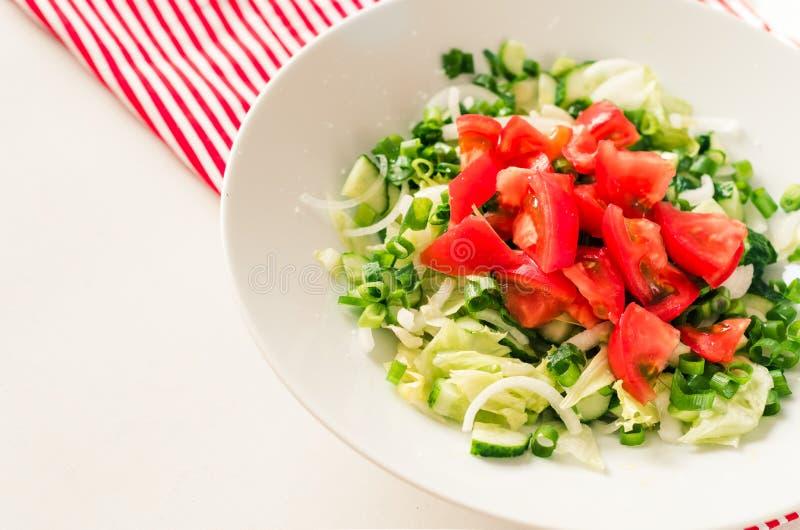 Pepinos Georgian dos tomates da salada, cebolas, no guardanapo vermelho da tabela branca listrado foto de stock