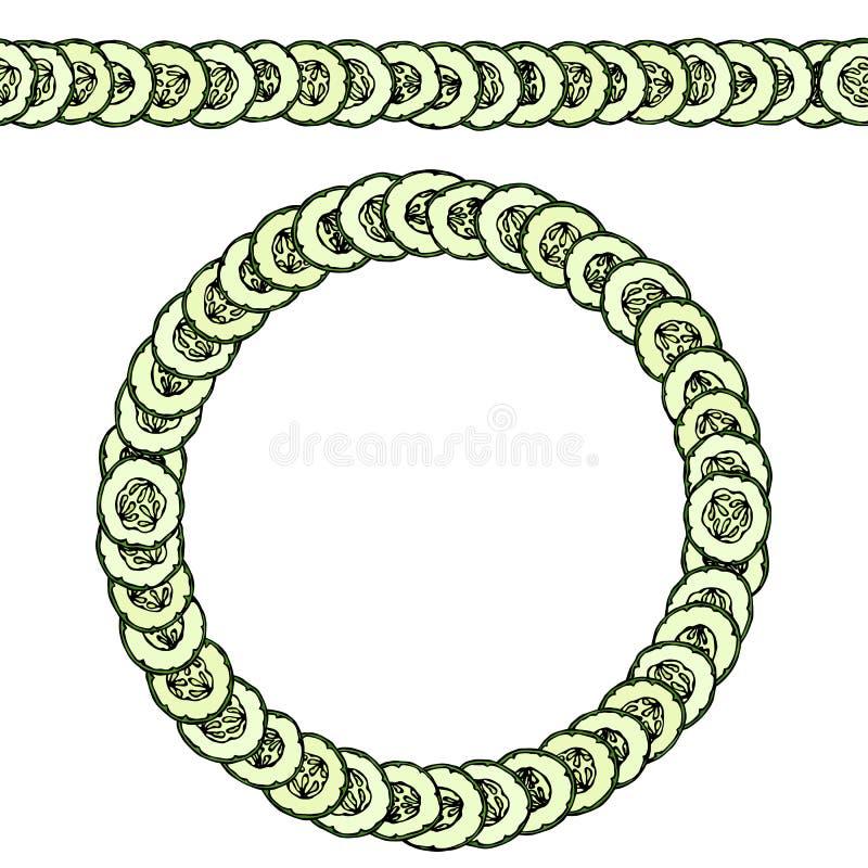 Pepinos o rebanadas verdes del pepinillo con las semillas dispuestas como dominó Cepillo sin fin del modelo, guirnalda redonda Gu libre illustration