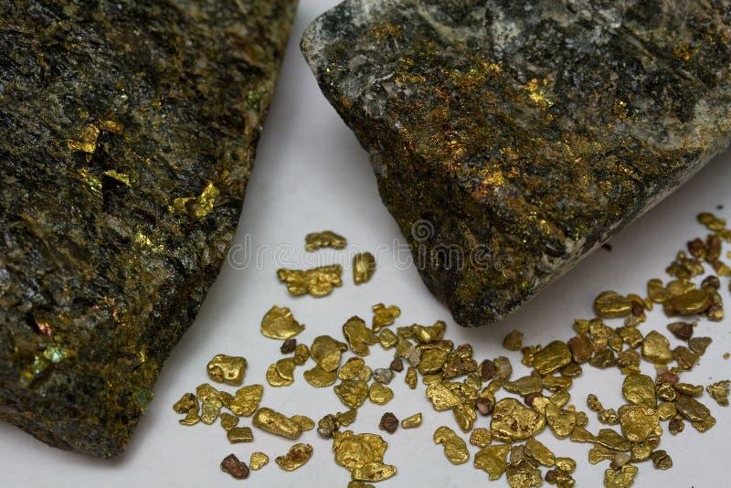 Pepitas de oro de alto grado del mineral del oro y del placer de California imágenes de archivo libres de regalías
