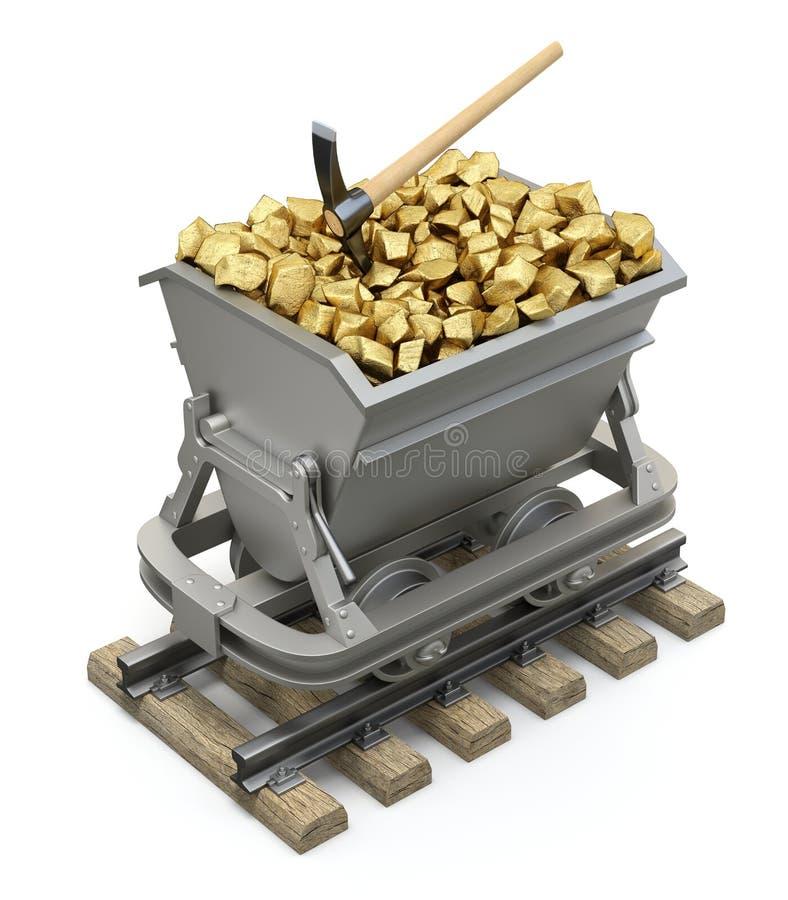 Pepitas de oro en el carro de la explotación minera ilustración del vector