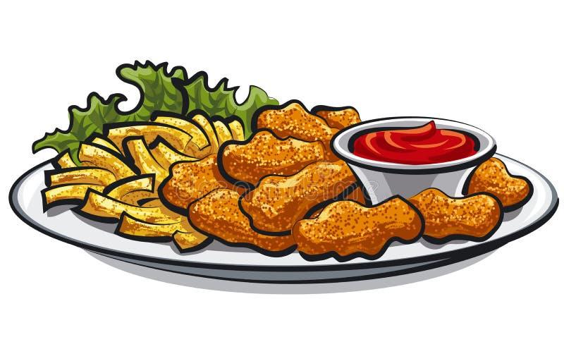 Pepitas e fritadas de frango frito ilustração stock