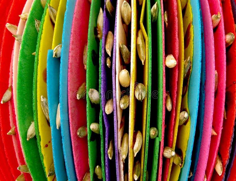 Pepitas mexicains traditionnels colorés de sucrerie du marché avec des graines de tournesol photos libres de droits